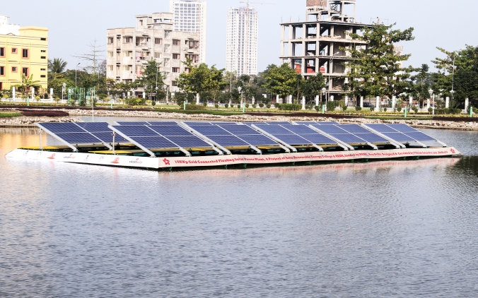 10kW Floating Solar Power Plant at New Town,Kolkata,West bengal,India (1)